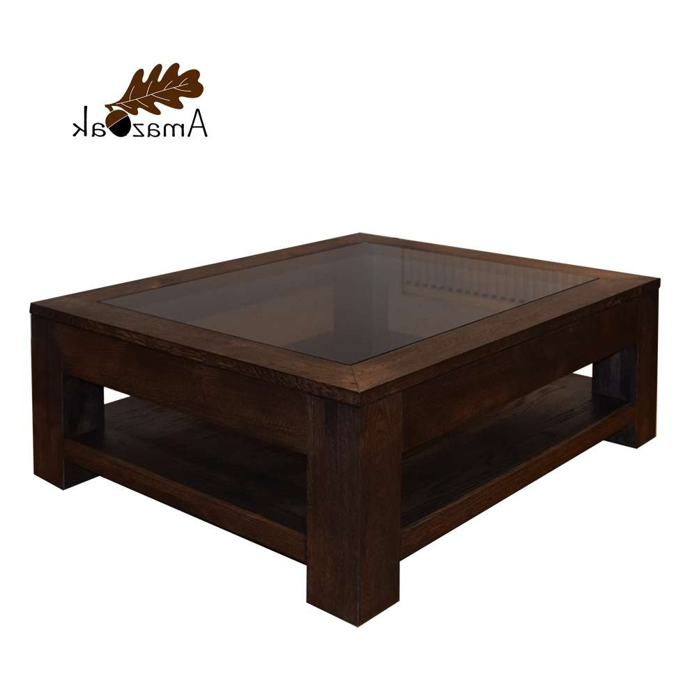 Oak Coffee Table Glass Top Display Shelf – Amazoak Pertaining To Well Known Dark Oak Coffee Tables (Gallery 2 of 20)