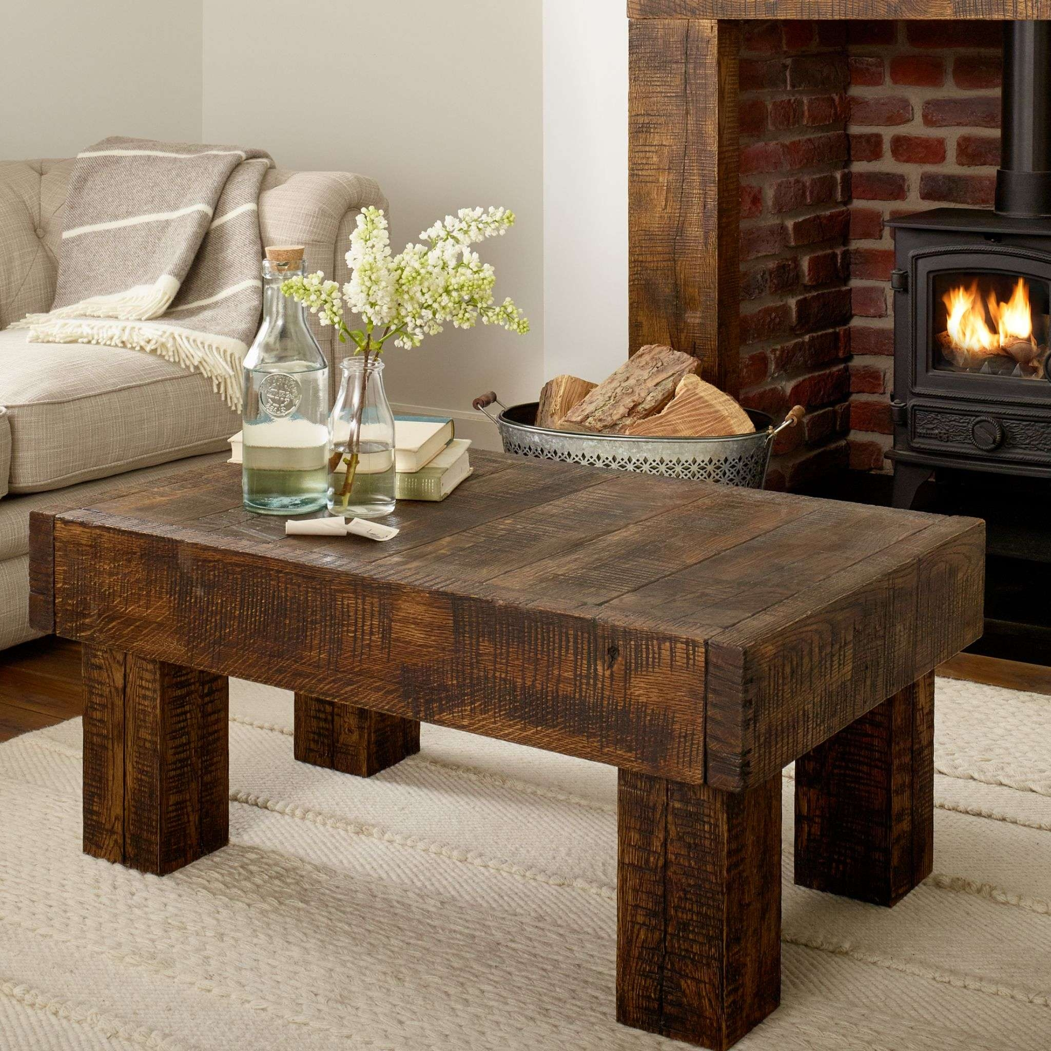 Oak Coffee Table Grosvenor Solid French Rustic Beam In Most Popular Solid Oak Beam Coffee Table (View 13 of 20)