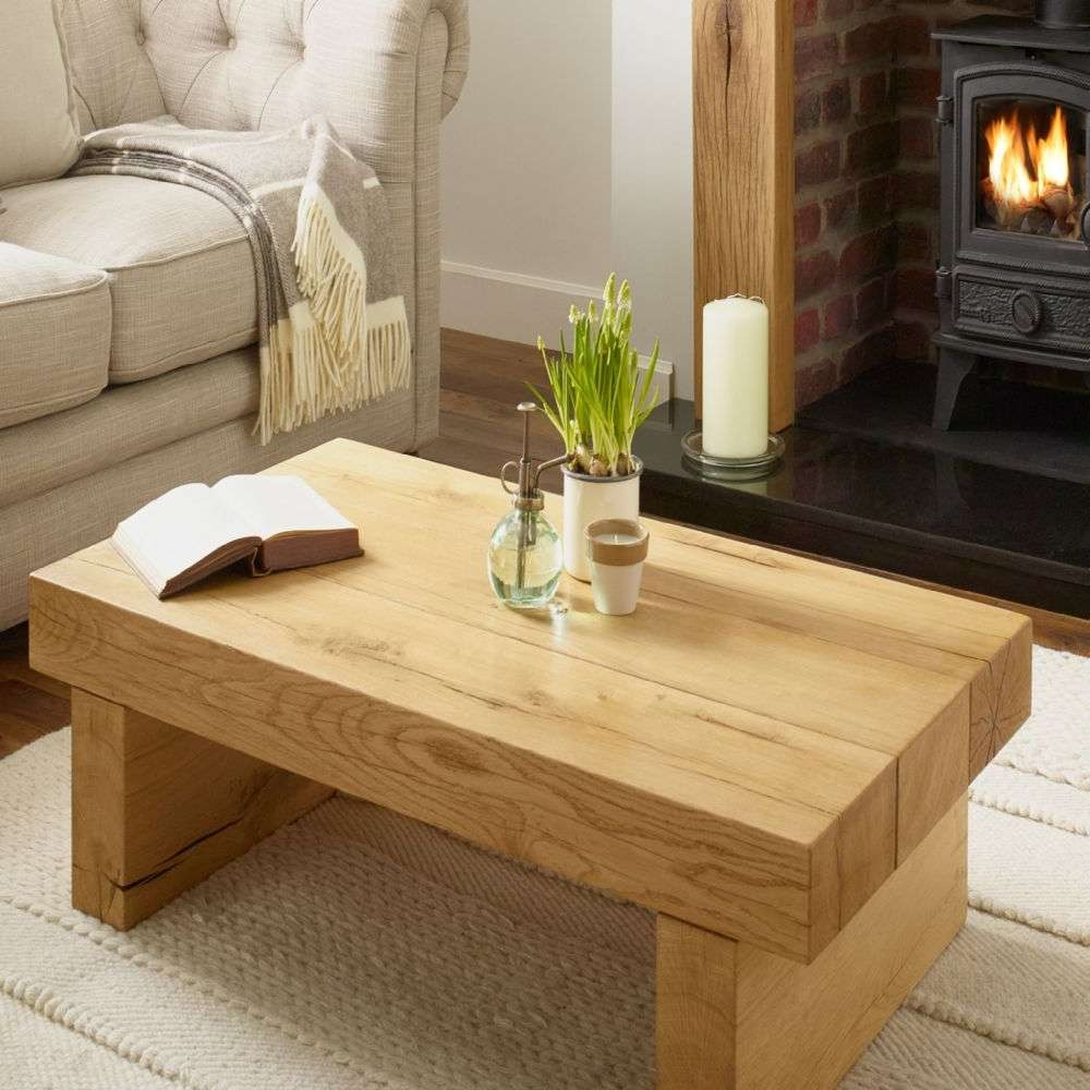 Oak Coffee Table Oxford Solid French Rustic Beam Regarding Most Recently Released Oak Beam Coffee Tables (View 13 of 20)