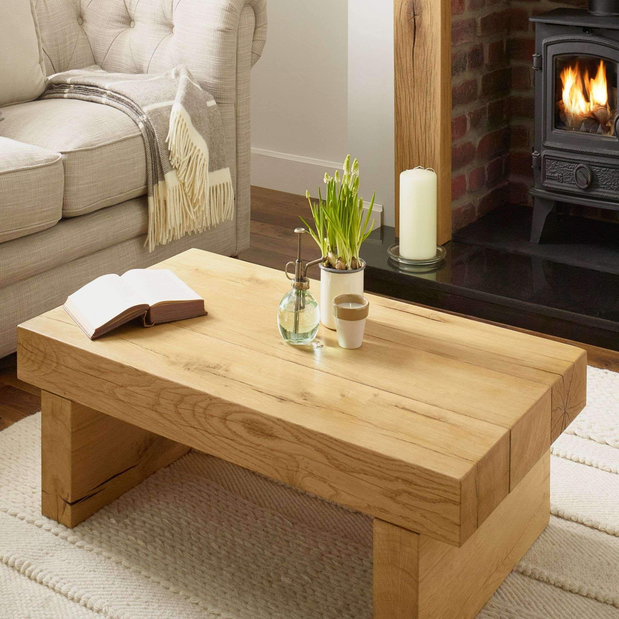 Oak Coffee Table Oxford Solid French Rustic Beam Regarding Recent Solid Oak Beam Coffee Table (View 15 of 20)