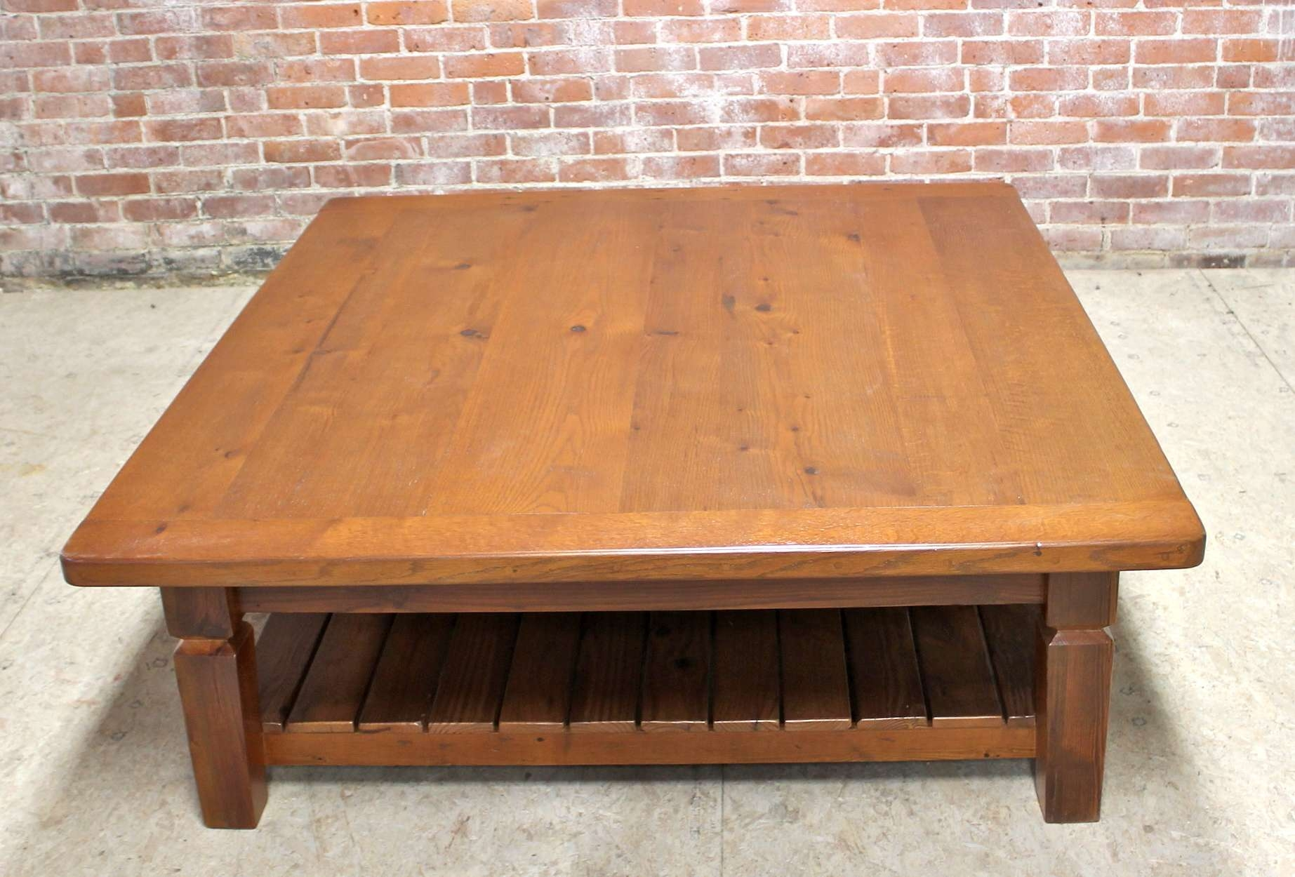 Oak Coffee Table With Slatted Shelf – Ecustomfinishes In Most Popular Oak Coffee Table With Shelf (View 13 of 20)