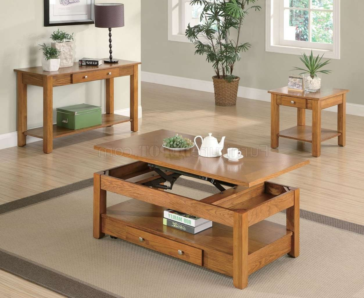 Oak Finish Modern Lift Top Coffee Table W/options With Regard To Popular Lift Top Oak Coffee Tables (View 18 of 20)