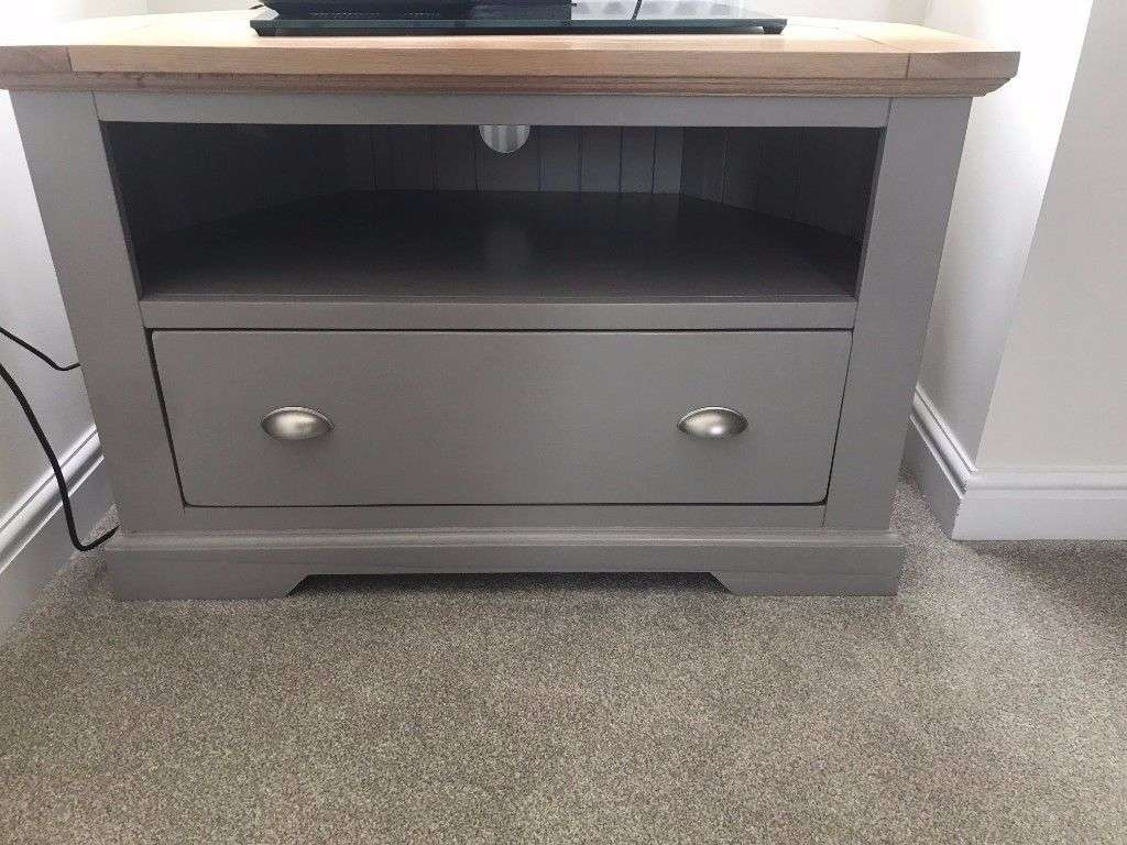 Oak Furniture Land St Ives Natural Oak And Light Grey Painted Intended For Painted Corner Tv Cabinets (View 13 of 20)
