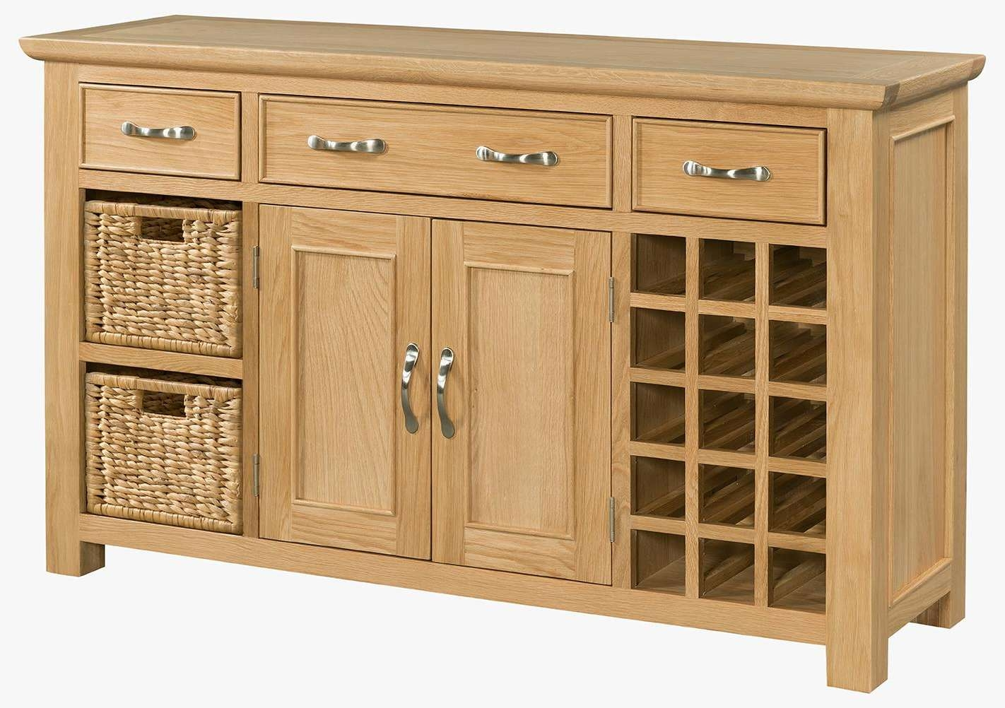 Oak Large Sideboard With Wine Rack (sie054) – Solid Wood & Painted Within Sideboards With Wine Rack (View 6 of 20)