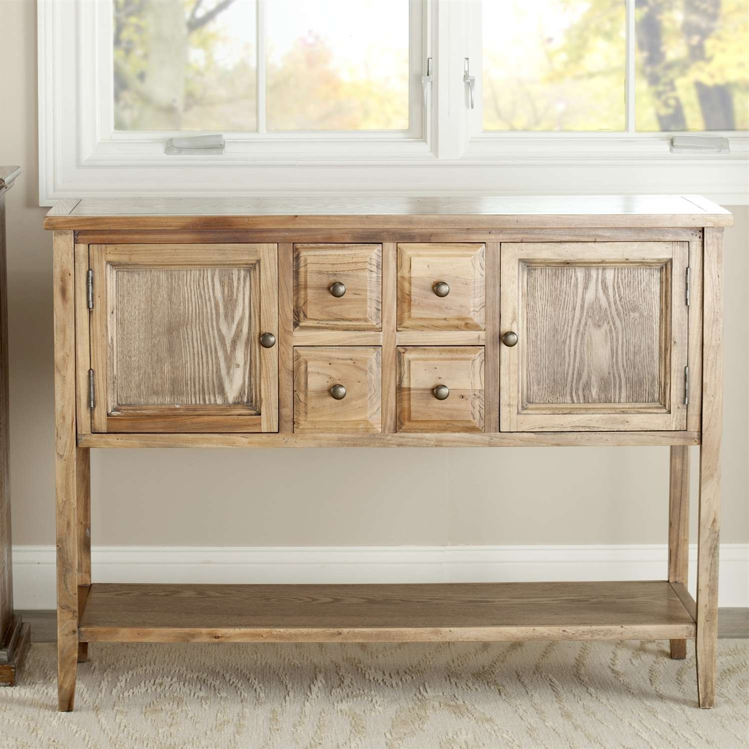 Oak Wood Finish Dining Room Sideboard Buffet Console Table Cabinet Throughout Buffet Console Sideboards (View 11 of 20)