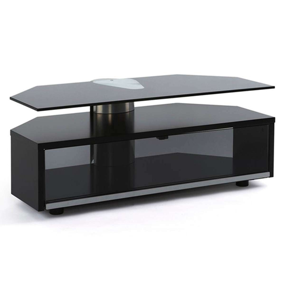 Off The Wall Duo Glass Fronted Tv Cabinet Stand 1000Mm Black Within Glass Fronted Tv Cabinets (Gallery 20 of 20)