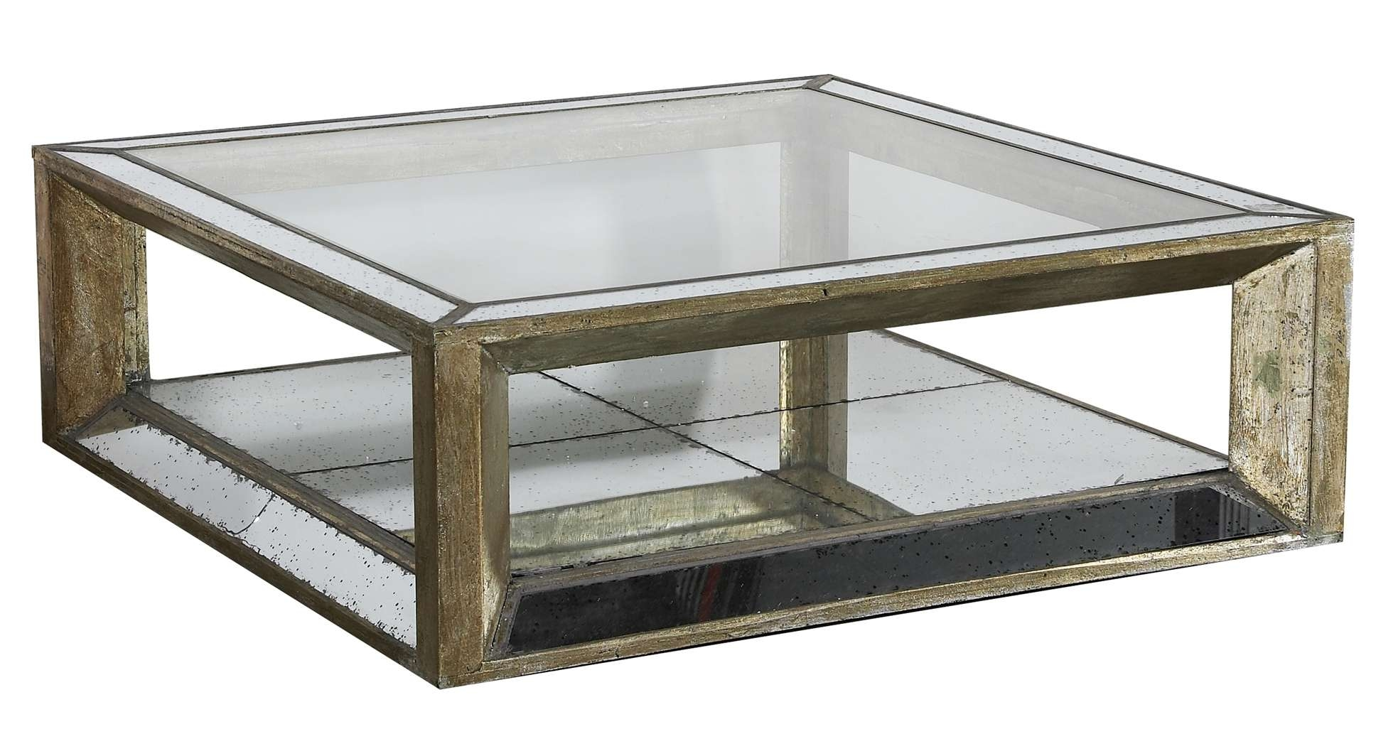 Old Style Square Mirrored Coffee Table With Reclaimed Wooden Frame Intended For Latest Round Mirrored Coffee Tables (Gallery 8 of 20)