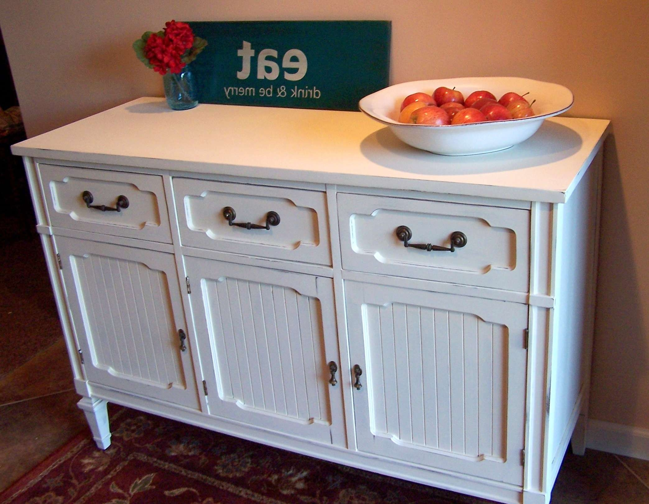 Old White Sideboard/buffet | Urban Farmhouse Finishes Throughout White Pine Sideboards (View 5 of 20)