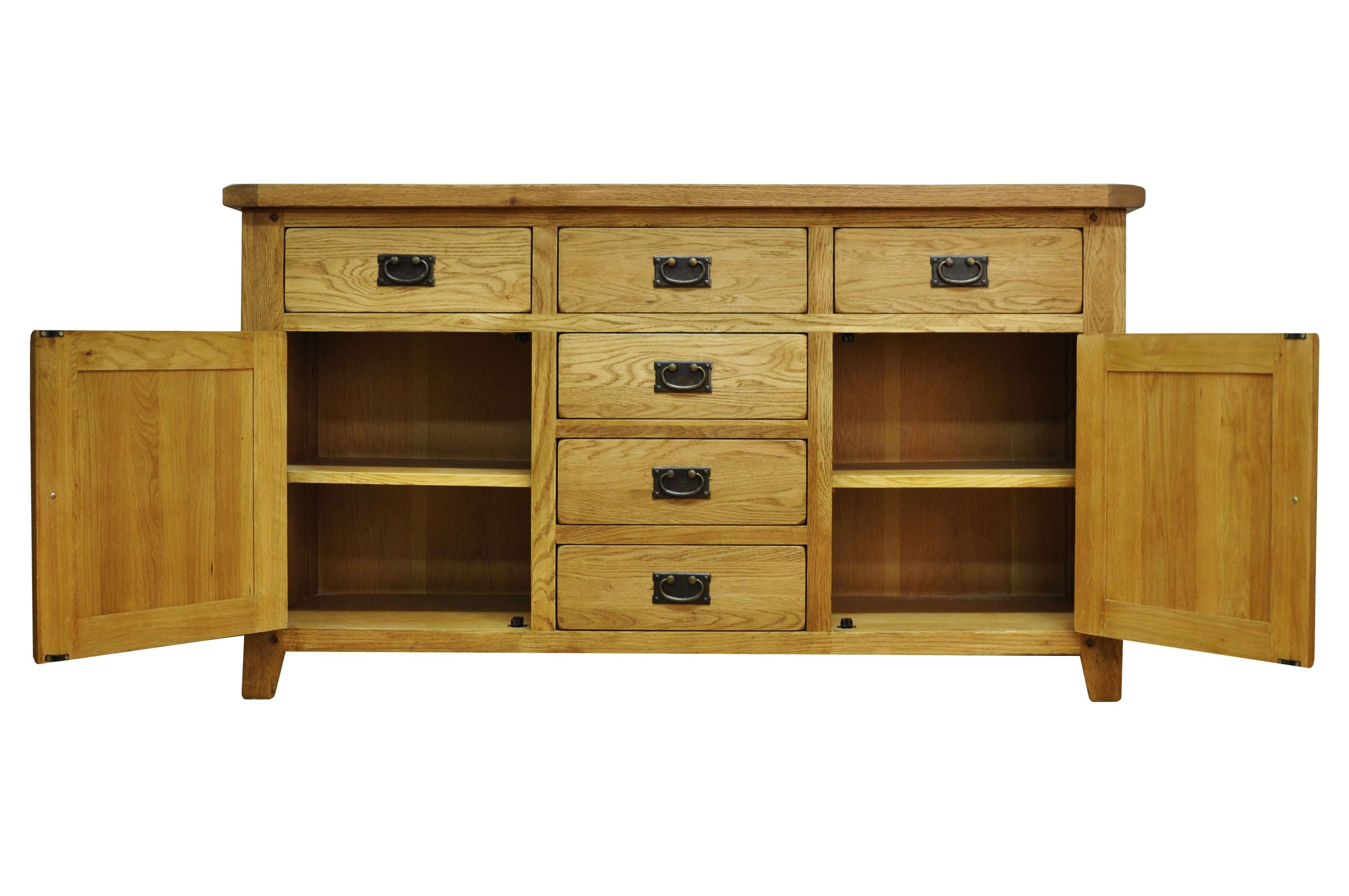 Oldbury Rustic Oak Sideboard With 2 Doors And 6 Drawersstanton Intended For Sideboards With Drawers (View 10 of 20)