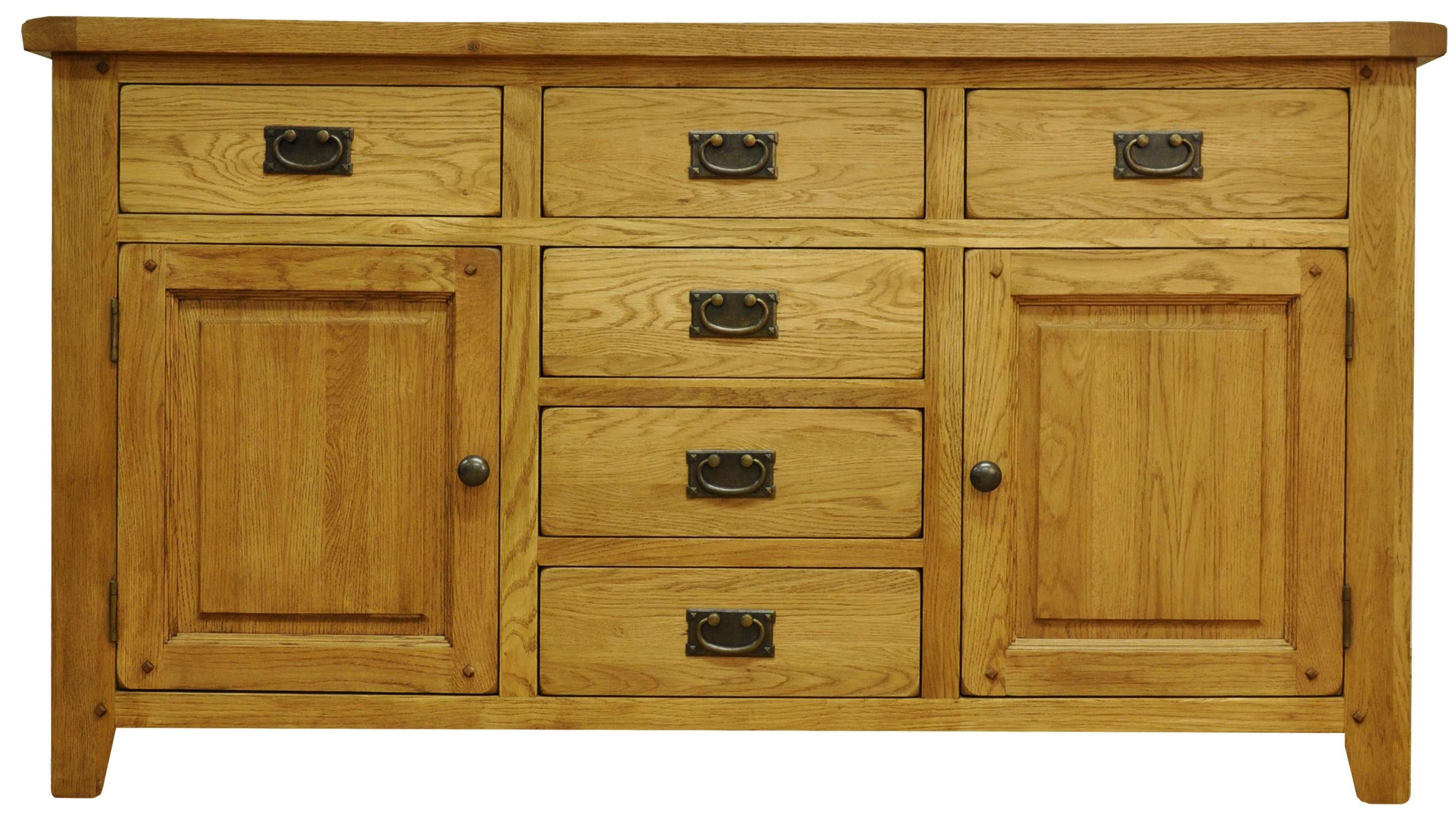 Oldbury Rustic Oak Sideboard With 2 Doors And 6 Drawersstanton With Rustic Oak Large Sideboards (View 12 of 20)