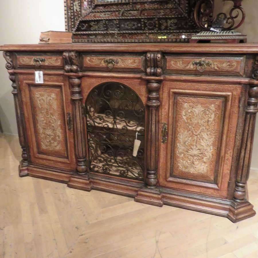 Olde World Rustic Iron Sideboard Buffet With Wrought Iron Scroll With Hand Painted Sideboards (View 9 of 20)