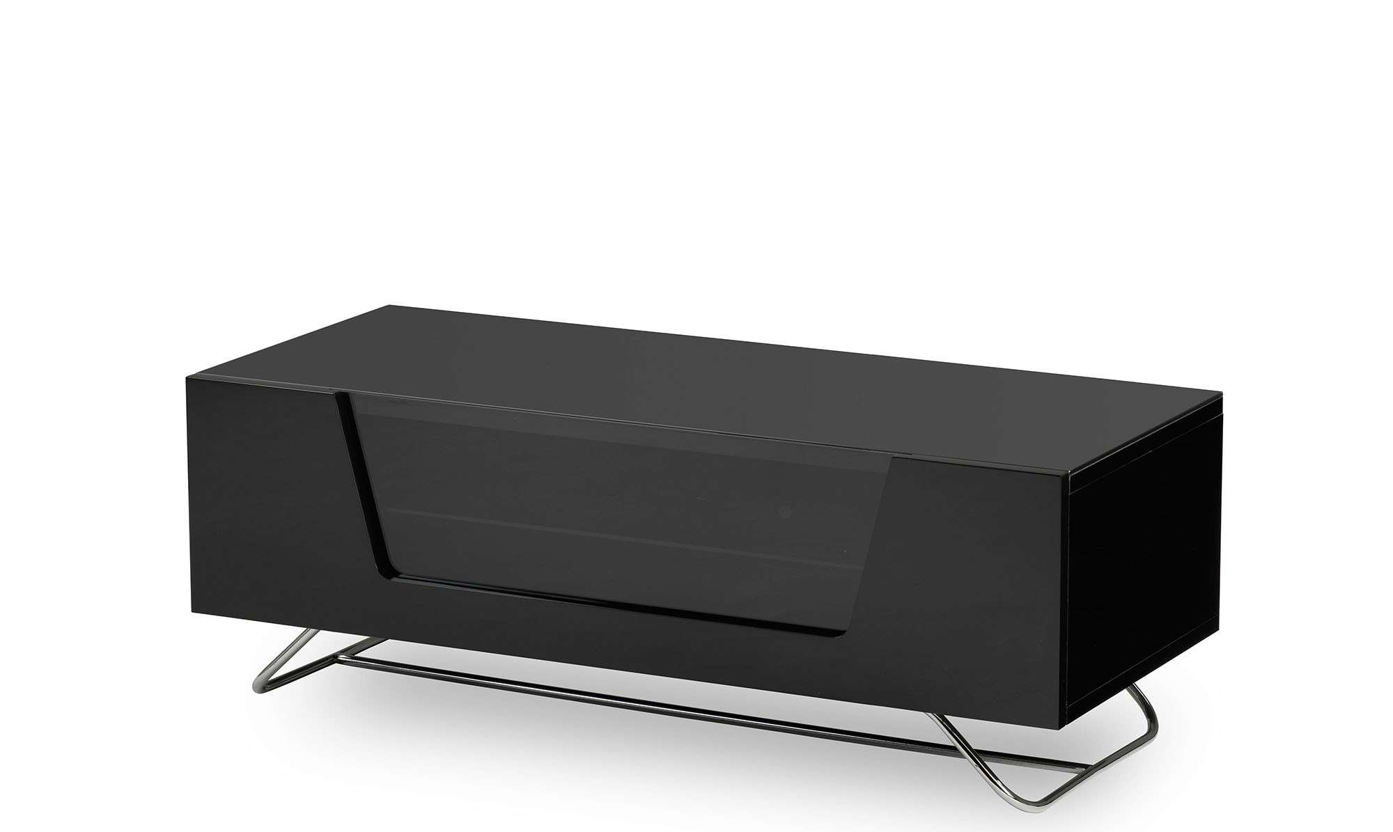 Omega – Black High Gloss Tv Unit – Fishpools Pertaining To Black Gloss Tv Cabinets (View 16 of 20)