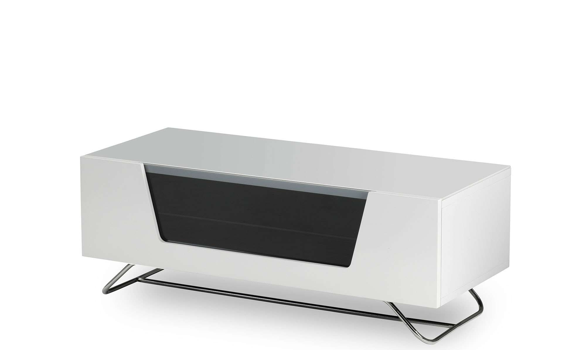 Omega – White High Gloss Tv Unit – Fishpools In White Gloss Tv Cabinets (View 9 of 20)