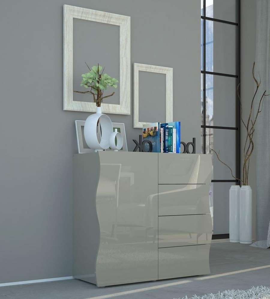 Onda Grey Gloss Sideboard | Storage Furniture | Contemporary Furniture With High Gloss Grey Sideboards (View 8 of 20)