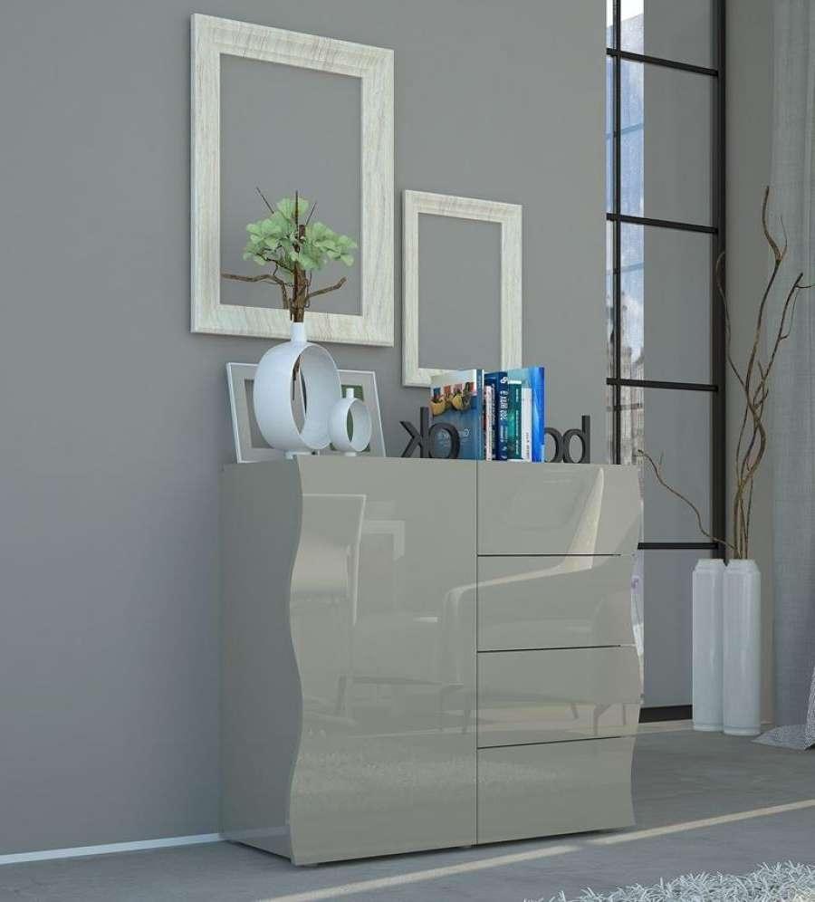 Onda Grey Gloss Sideboard | Storage Furniture | Contemporary Furniture With High Gloss Grey Sideboards (View 4 of 20)