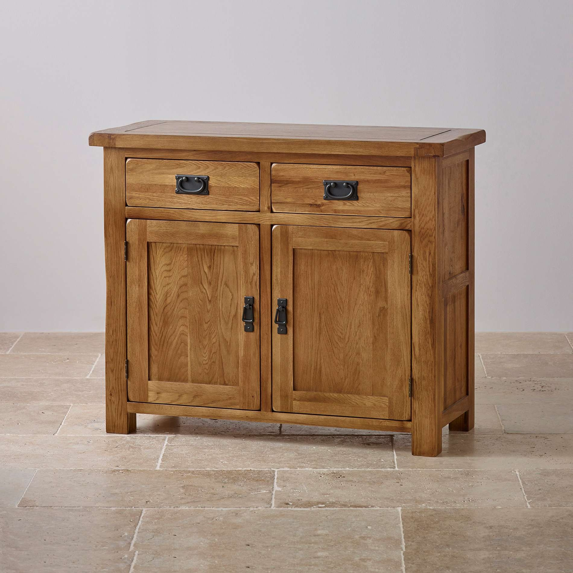 Original Rustic Solid Oak Small Sideboard | Oak Furniture Land For Rustic Sideboards Furniture (View 7 of 20)