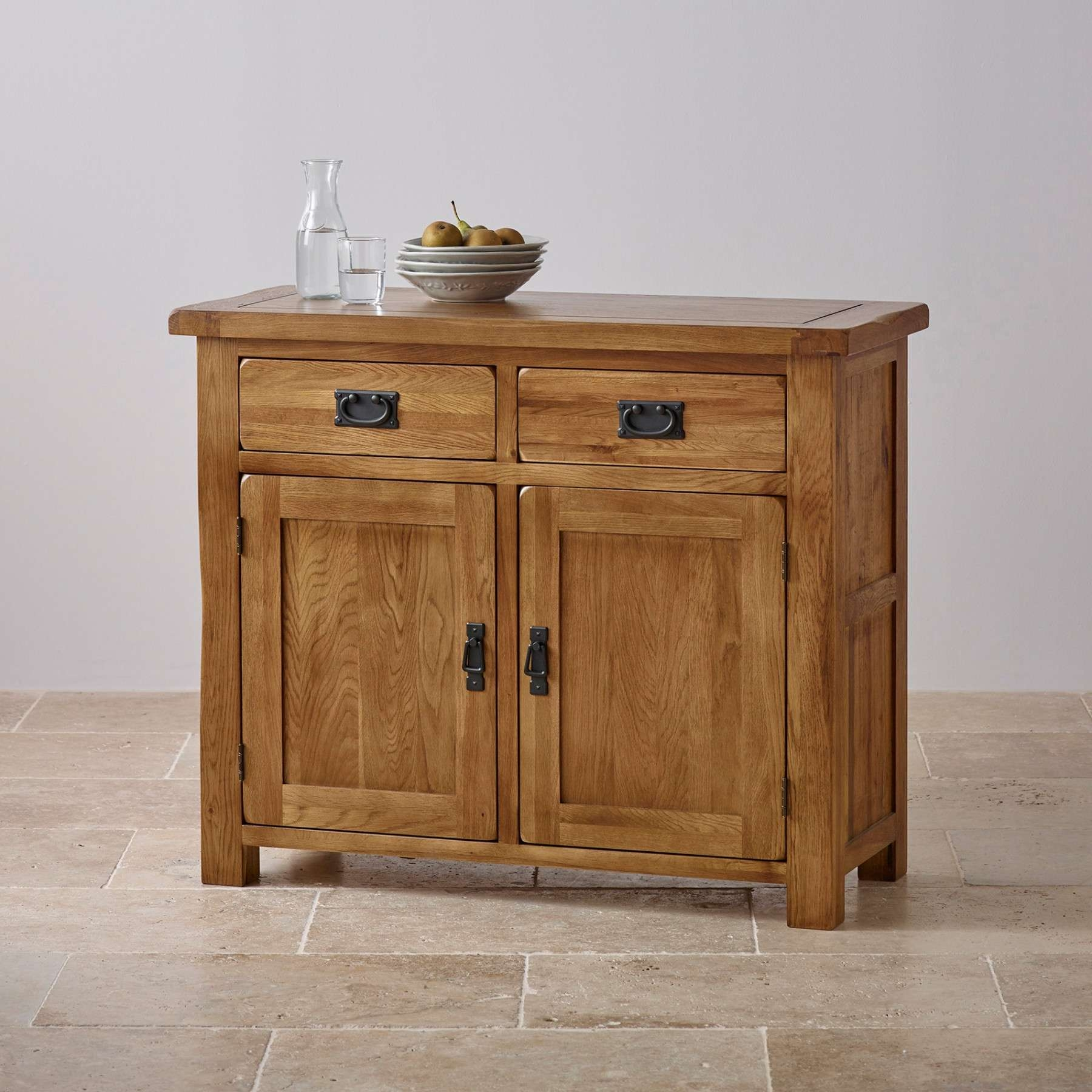 Original Rustic Solid Oak Small Sideboard | Sideboards | Dining In Rustic Sideboards (View 11 of 20)