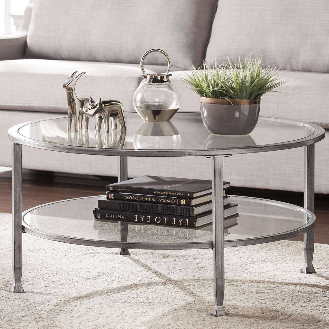 Orren Ellis Casas Metal And Glass Round Coffee Table & Reviews With Preferred Glass Circular Coffee Tables (Gallery 2 of 20)