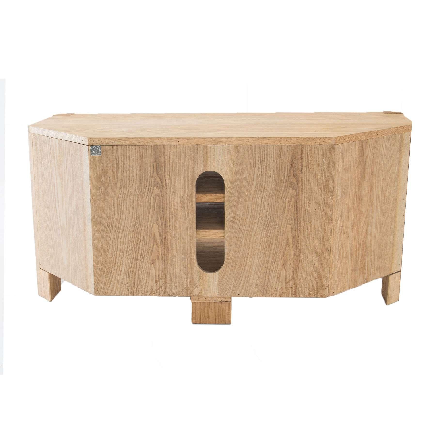 "Oslo Light Oak Corner Tv Stand For Up To 44"" Tvs Regarding Light Oak Corner Tv Cabinets (View 12 of 20)"
