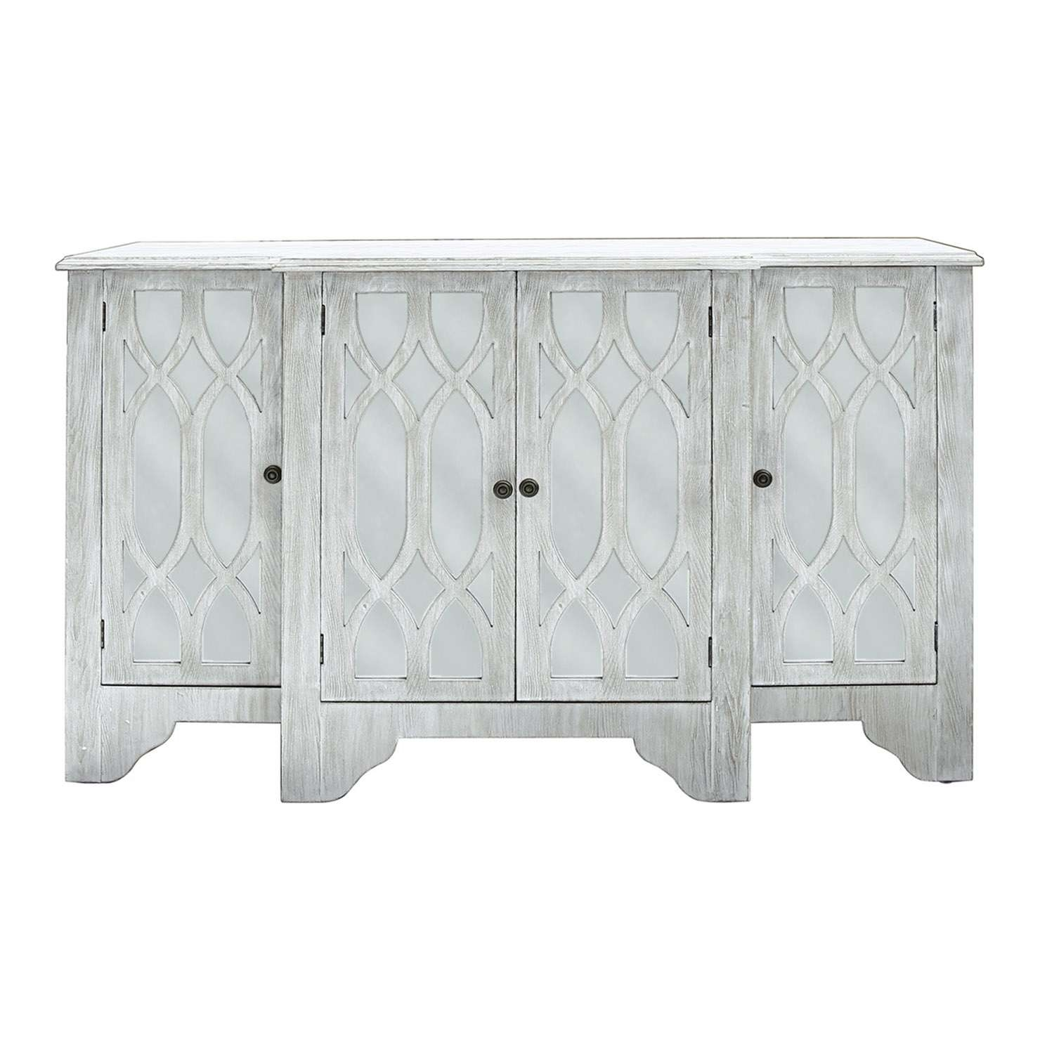 Oslo Mirrored 4 Door Sideboard, Washed Ash | Achica In White Mirrored Sideboards (Gallery 15 of 20)