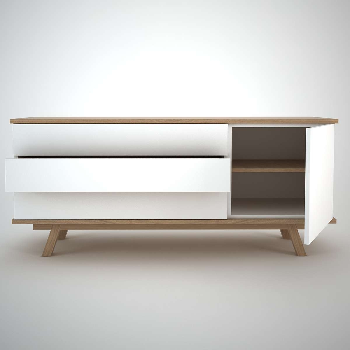 Ottawa Sideboard (1+3) White – Join Furniture Throughout White Modern Sideboards (Gallery 1 of 20)