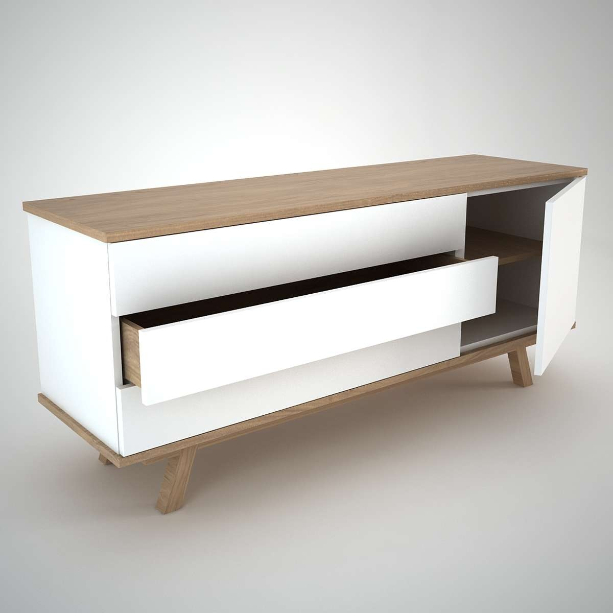 Ottawa Sideboard (1+3) White – Join Furniture With Regard To White Wood Sideboards (Gallery 16 of 20)