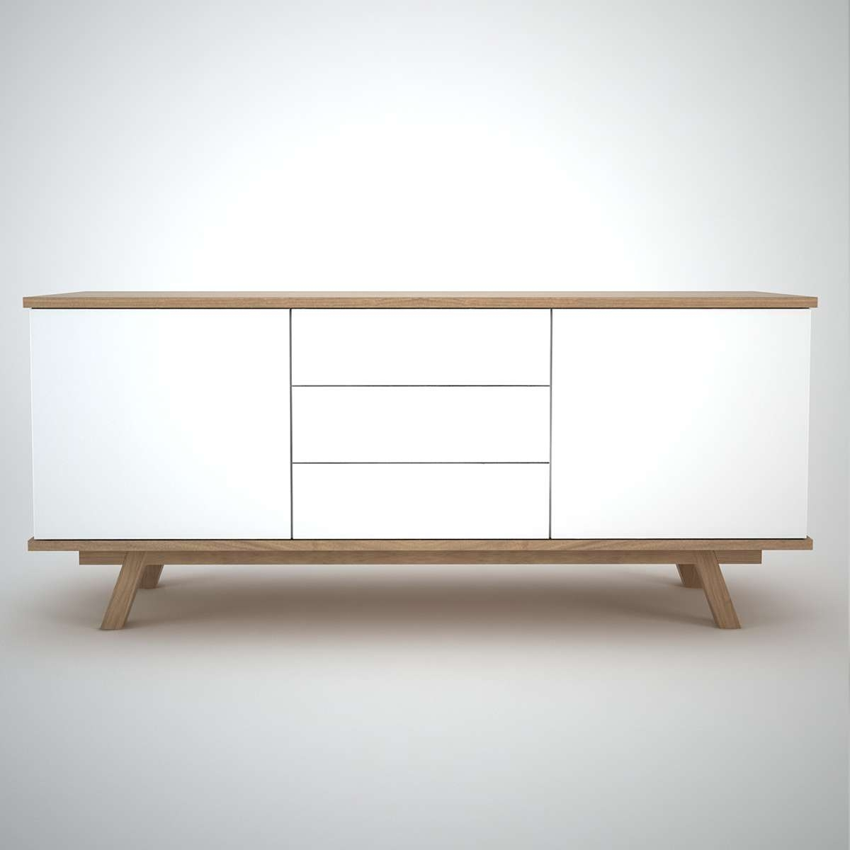Ottawa Sideboard (2+3) White – Join Furniture Throughout White Wood Sideboards (View 9 of 20)