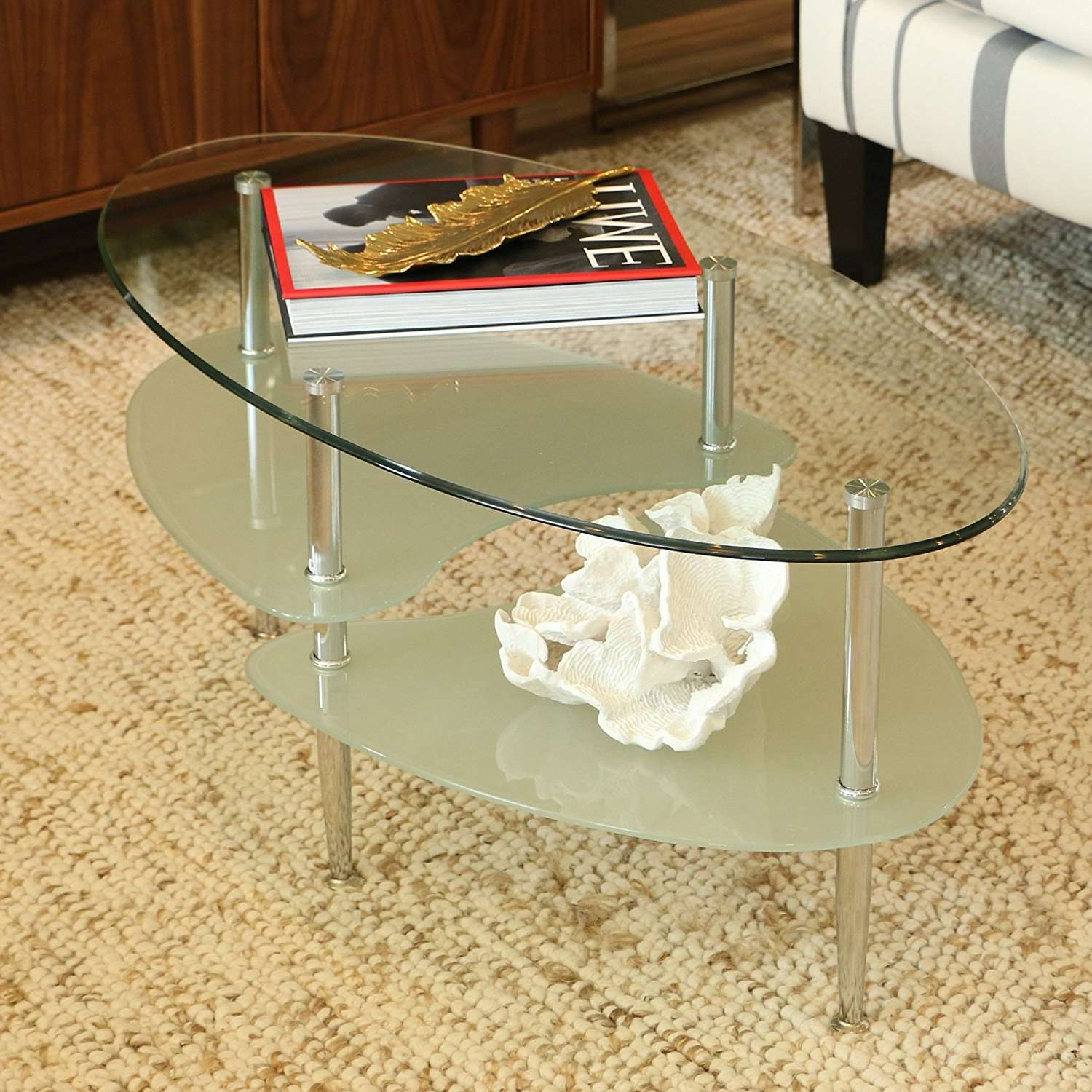 Oval Glass Coffee Table Contemporary Also Oval Glass Coffee Table Intended For Popular Metal Oval Coffee Tables (View 16 of 20)