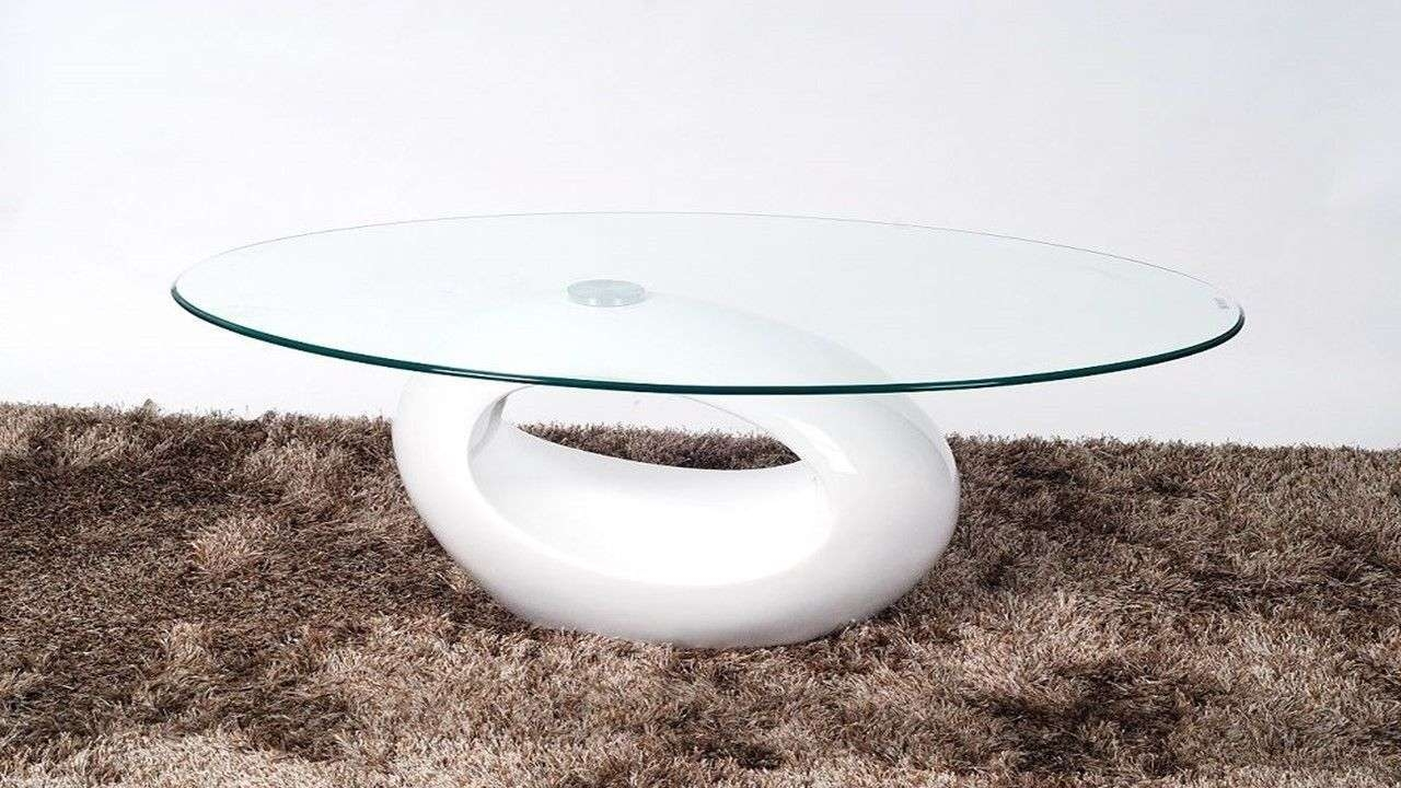 Oval Glass Coffee Table With White High Gloss Base – Homegenies Pertaining To Latest Coffee Tables White High Gloss (Gallery 19 of 20)