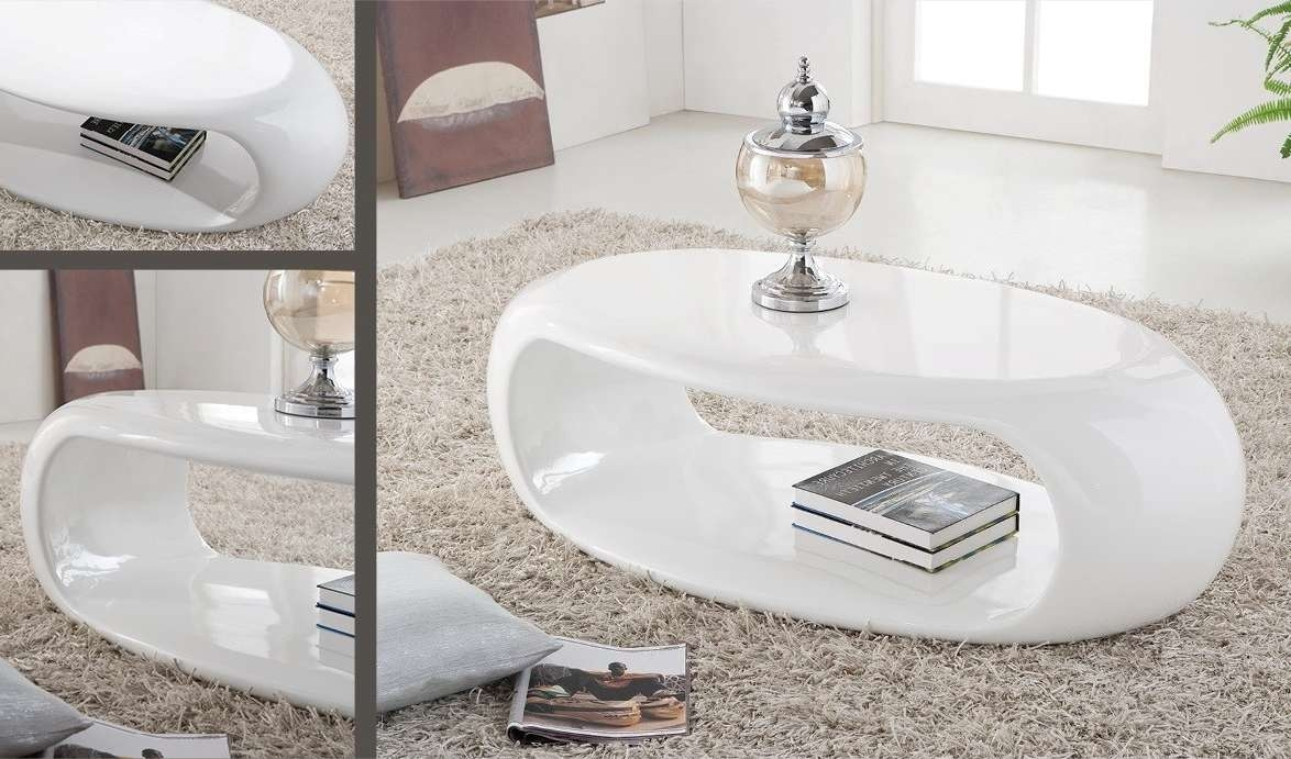Oval Modern Laminated Wood Trend Of White Gloss Coffee Table With Throughout Newest White Gloss Coffee Tables (View 14 of 20)