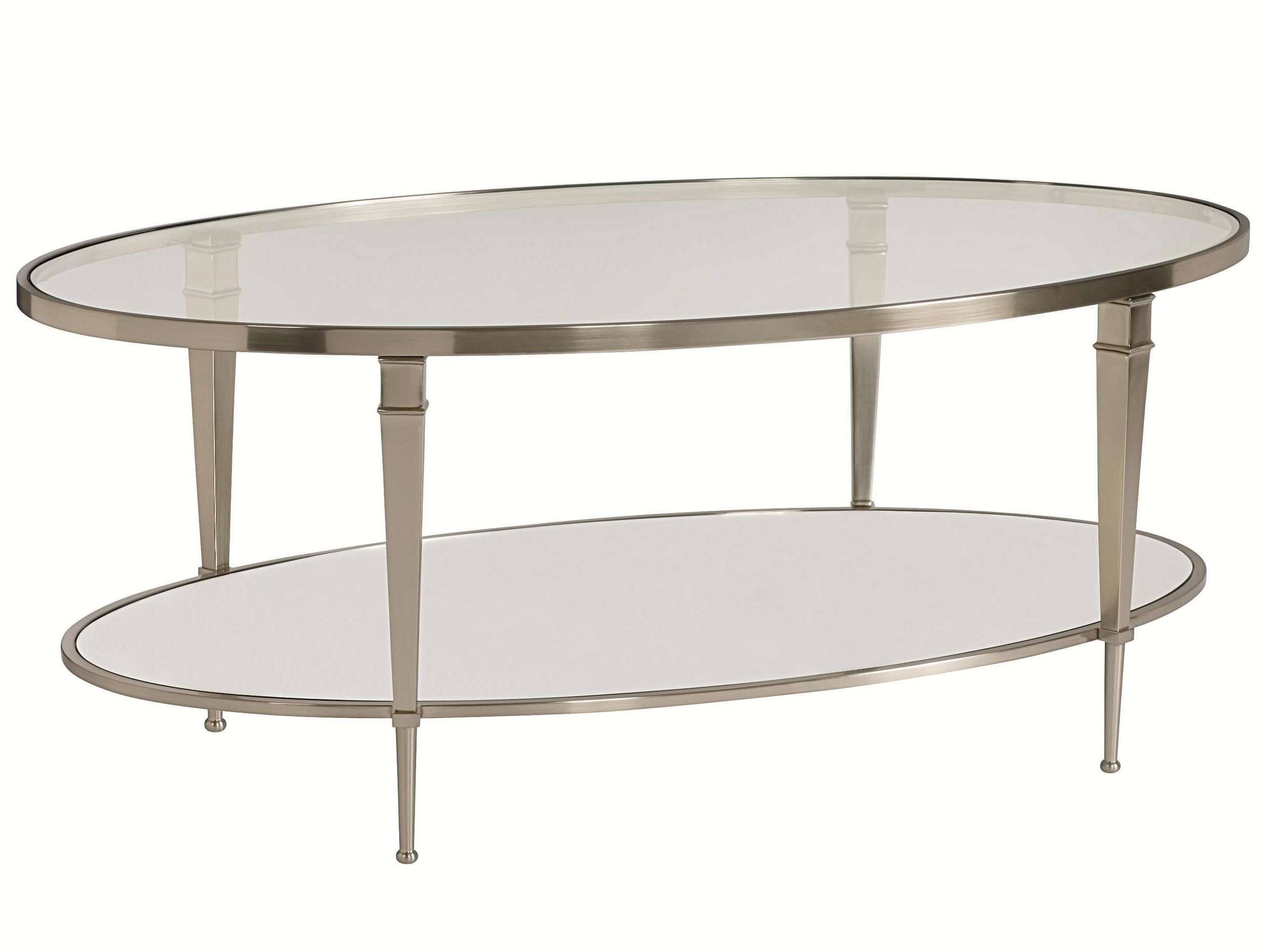 Oval Satin Nickel Antique Mirror Finish Cocktail Tablehammary Intended For Current Oval Mirrored Coffee Tables (Gallery 4 of 20)