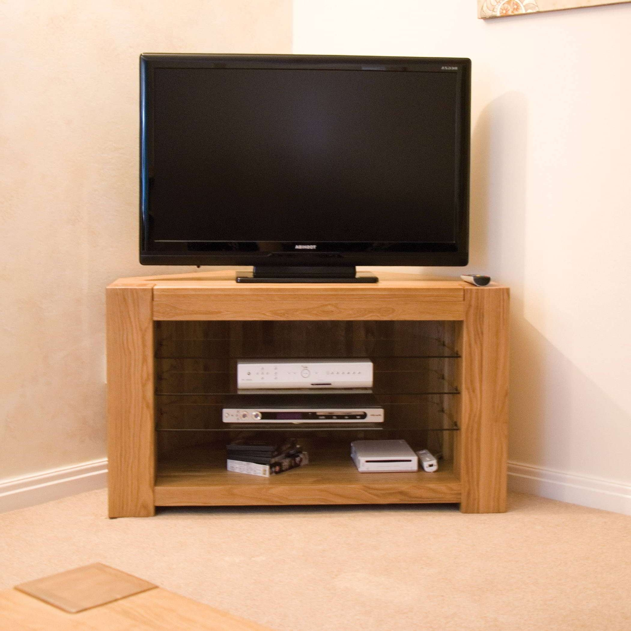 Padova Solid Oak Furniture Corner Television Cabinet Stand Unit | Ebay Inside Solid Oak Corner Tv Cabinets (View 14 of 20)