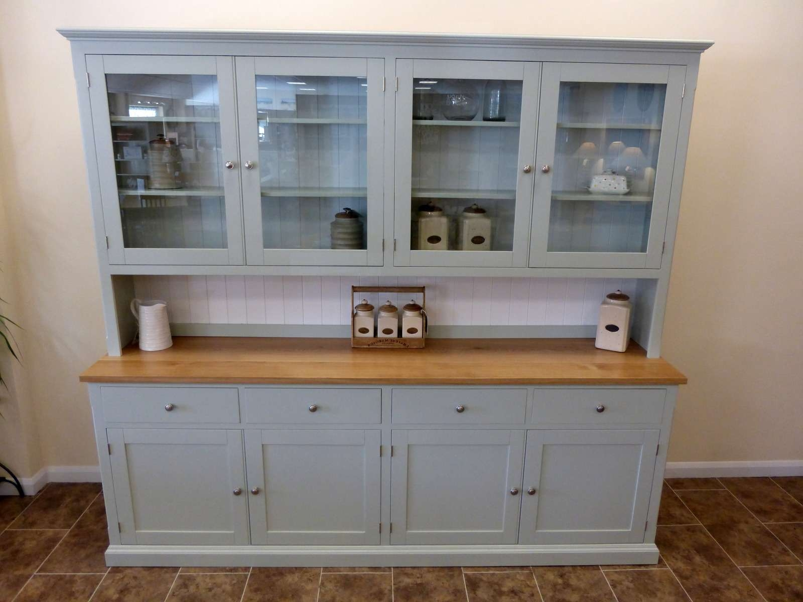 Painted 8' Elegant Half Glazed Dresser – Solid Wood & Painted Made With Kitchen Dressers And Sideboards (View 11 of 20)