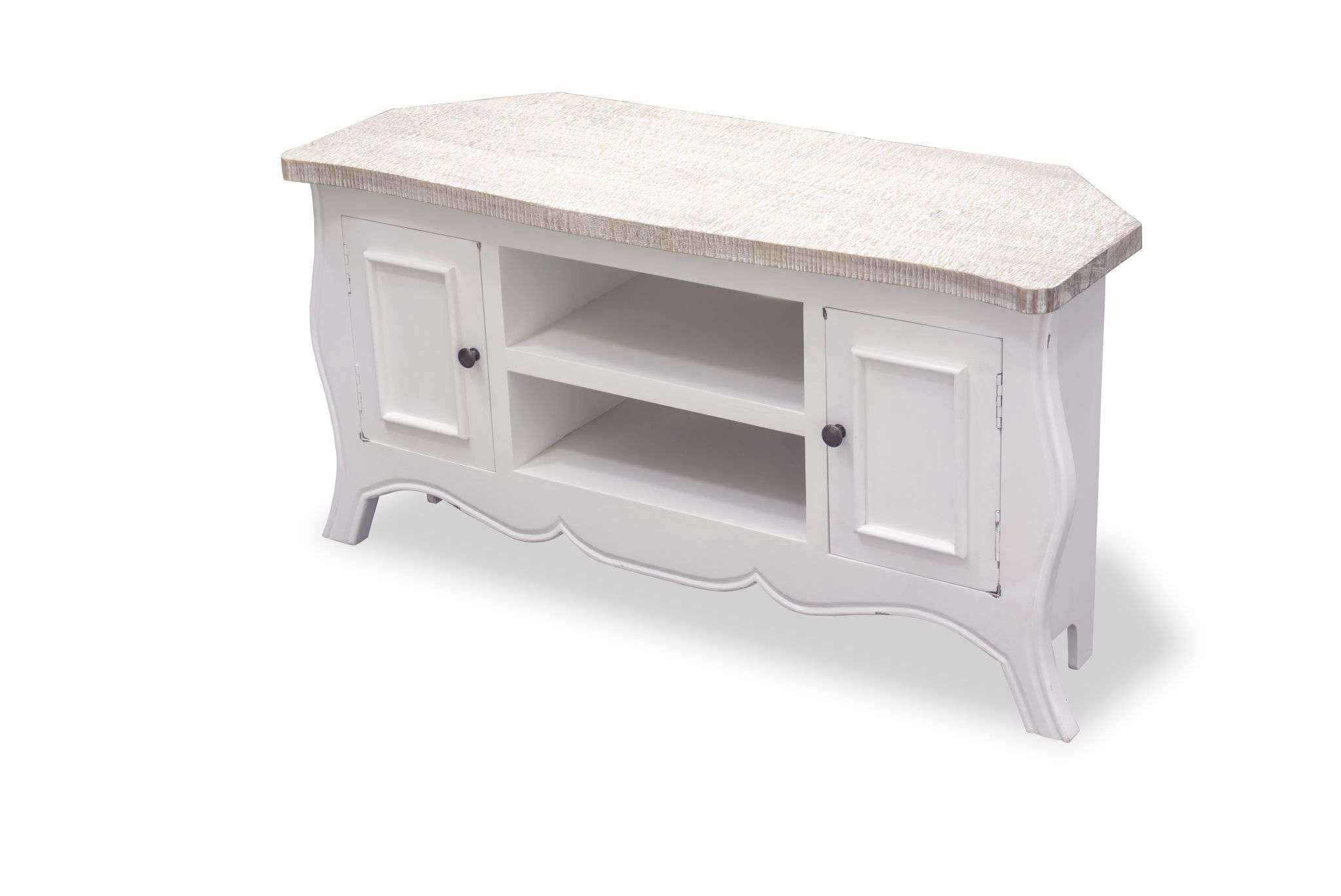 Painted Cottonwood Shabby Chic Corner Tv Cabinet 45570 P (2048 Intended For White Corner Tv Cabinets (View 9 of 20)