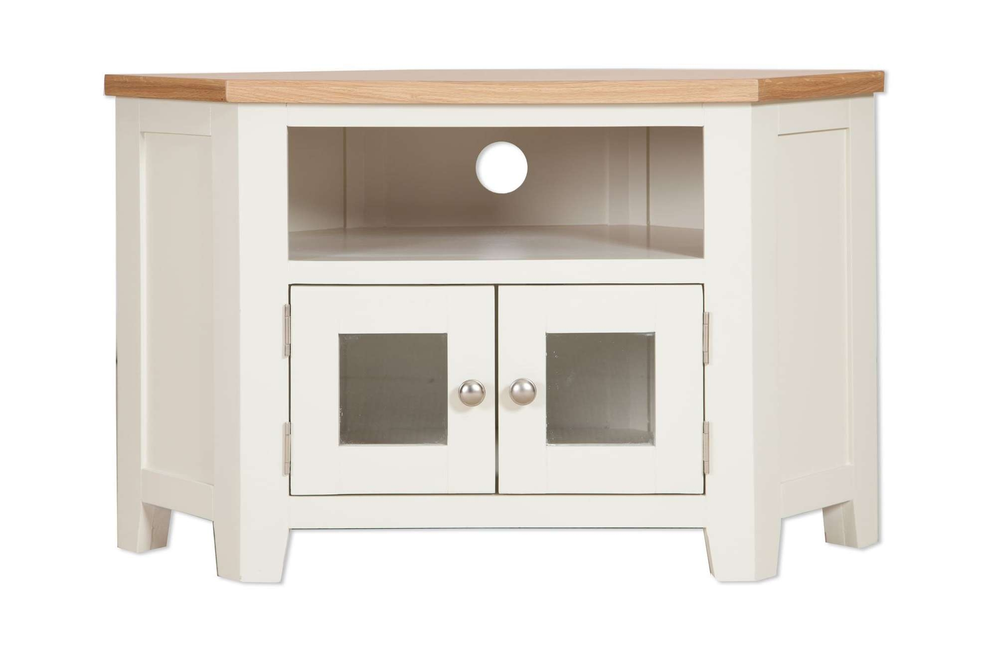 Painted Ivory Glazed Corner Tv Unit – Cambridge Home & Garden Regarding Painted Corner Tv Cabinets (View 7 of 20)