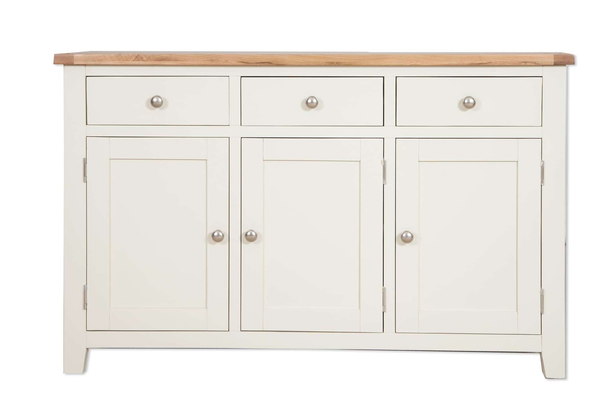 Painted Ivory Three Drawer Sideboard – Cambridge Home & Garden Intended For Cream And Oak Sideboards (View 14 of 20)