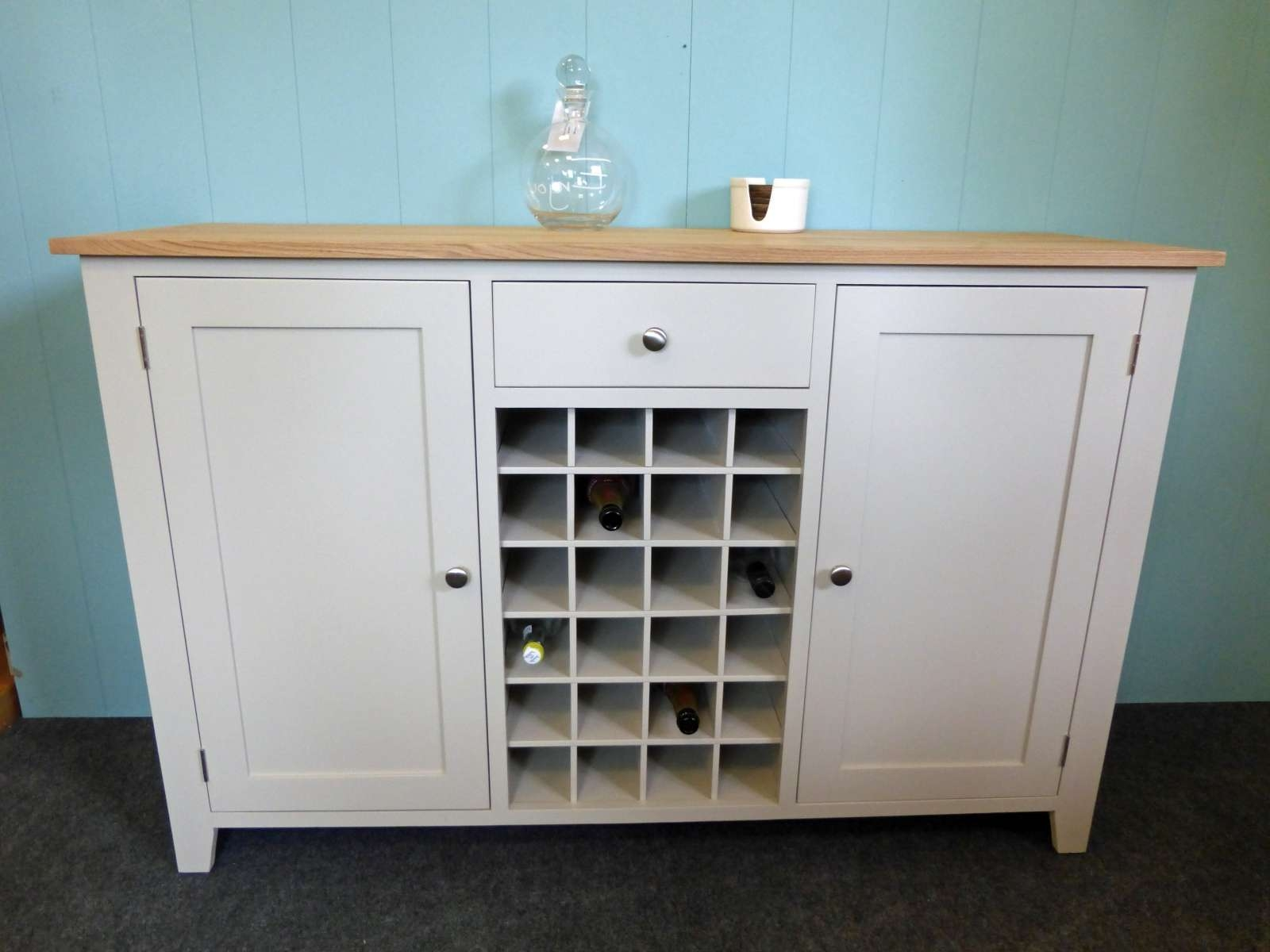 Painted Shaker Style Sideboard With Wine Rack – Solid Wood In Bespoke Sideboards (View 14 of 20)