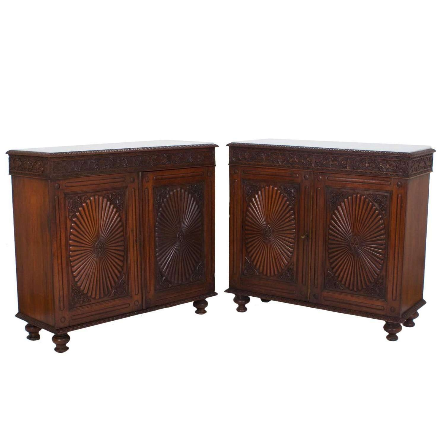 Pair Of Antique Anglo Indian Marble Top Sideboards Or Cabinets At Pertaining To Marble Top Sideboards (View 14 of 20)