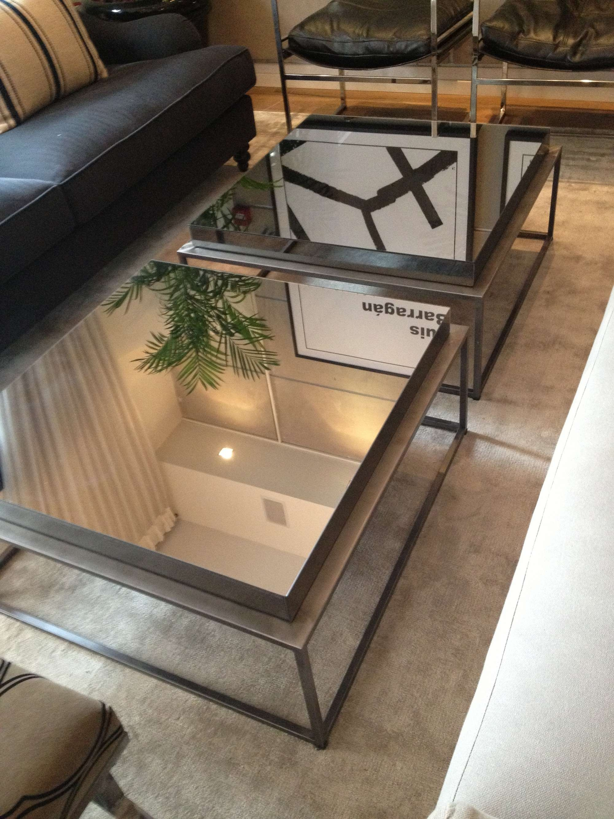 Pair Of Square Industrial Mirrored Coffee Table With Glass Top And In Well Known Glass Top Storage Coffee Tables (View 16 of 20)