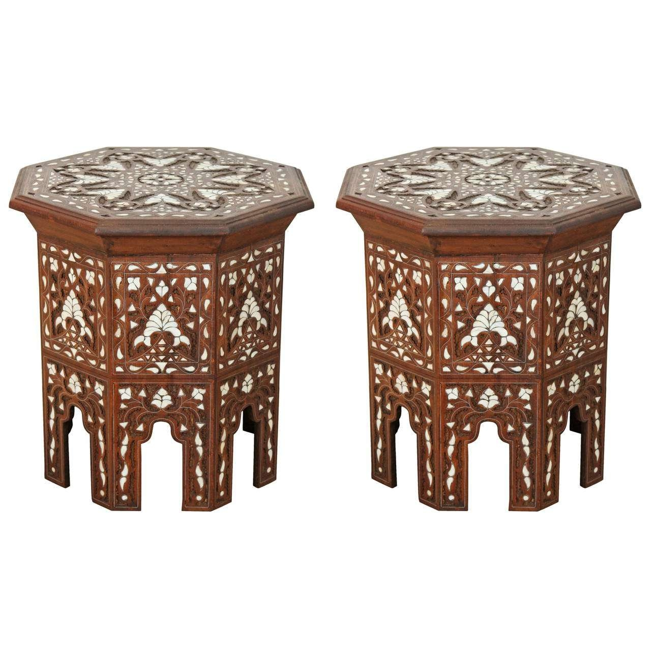 Pair Of Syrian Mother Of Pearl Inlaid Side Tables For Sale At 1stdibs For Favorite Mother Of Pearl Coffee Tables (View 4 of 20)
