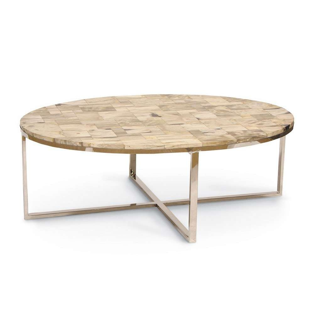 Palecek Mosaic Oval Petrified Wood Coffee Table Pk 7028 79 Pertaining To Favorite Mother Of Pearl Coffee Tables (View 16 of 20)