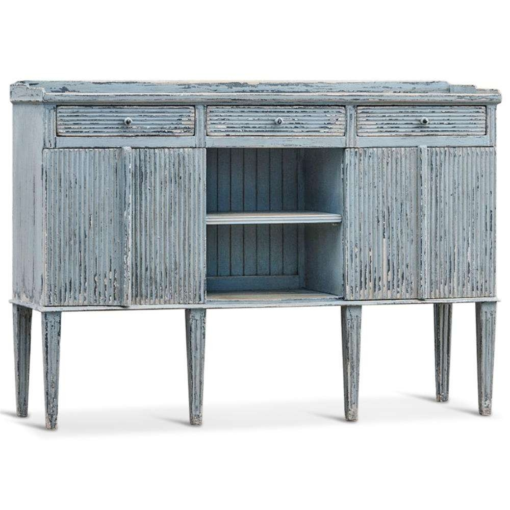 Peitro French Country Weathered Antique Blue Wood Sideboard Buffet Inside Country Sideboards (View 13 of 20)