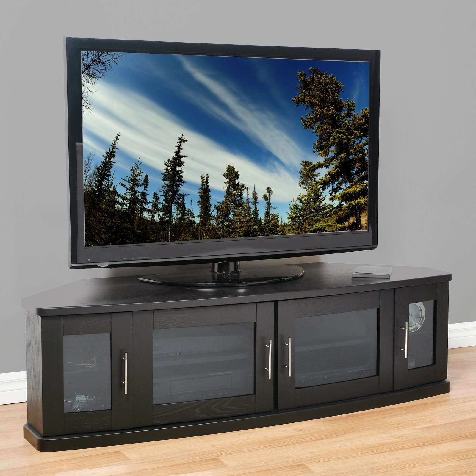 Plateau Newport 62 Inch Corner Tv Stand In Black – Walmart In Black Corner Tv Cabinets With Glass Doors (View 2 of 20)