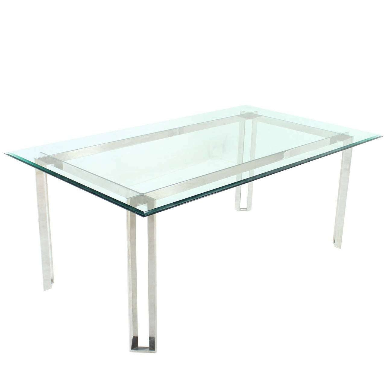 Polished Stainless Steel And Thick Glass Top Dining Room Table For Pertaining To Well Liked Thick Glass Coffee Table (View 17 of 20)