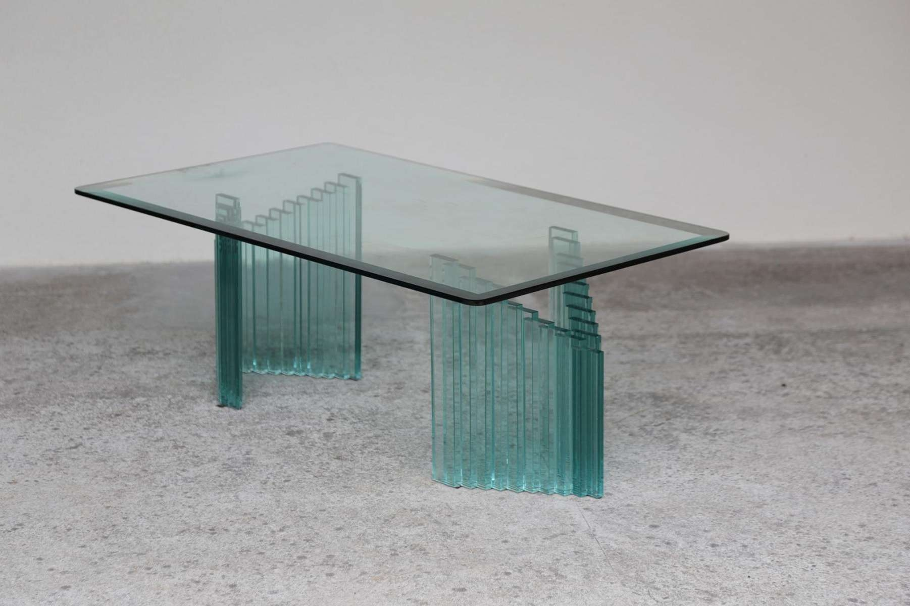 Popular All Glass Coffee Tables With Glass Top Vintage Coffee Table Los Angeles Glass And Wood Vintage (View 16 of 20)