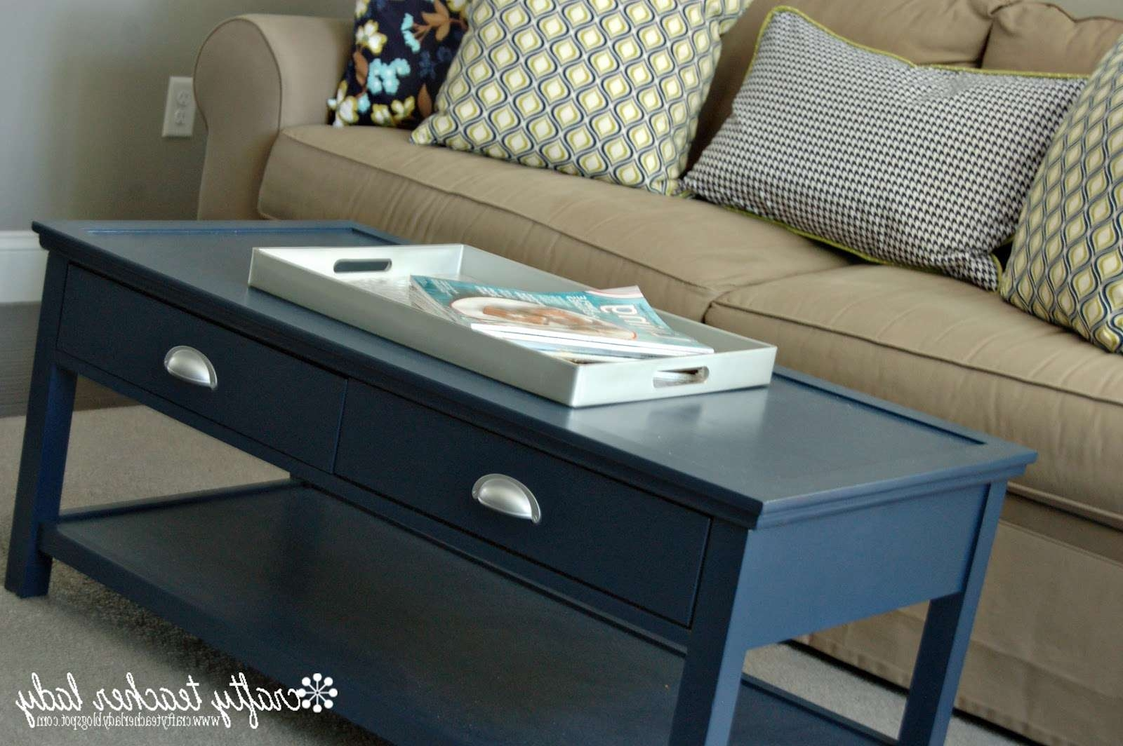 Popular Blue Coffee Tables In Navy Blue Coffee Table – Writehookstudio (View 4 of 20)