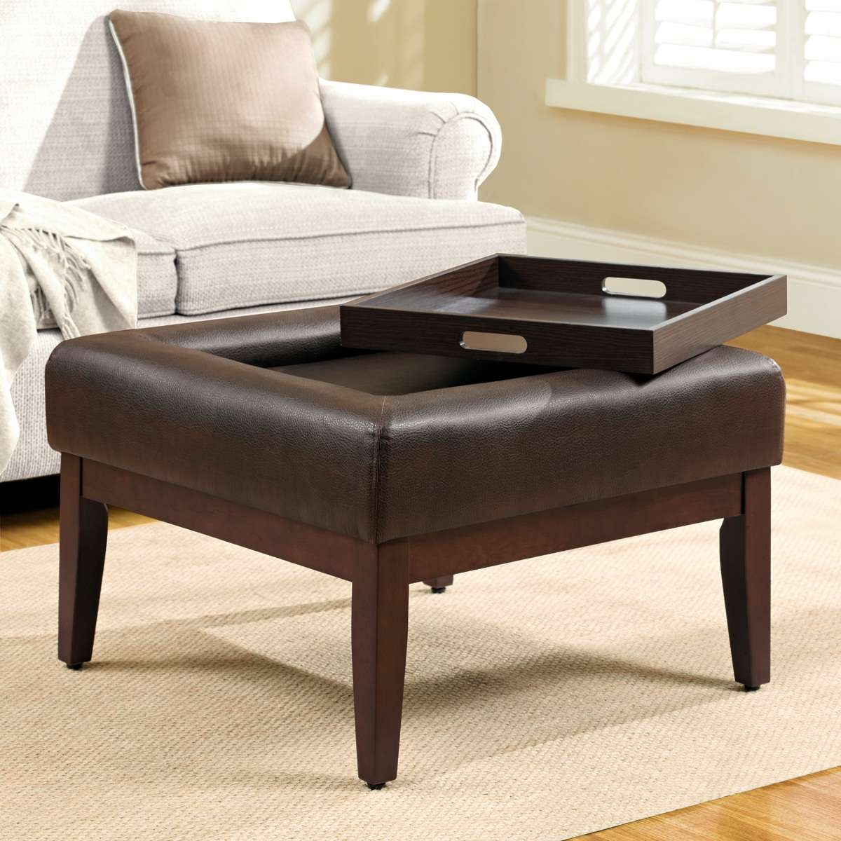 Popular Brown Leather Ottoman Coffee Tables With Storages With Regard To Simple Black Ottoman Coffee Table Designs With Storage – Laredoreads (View 16 of 20)