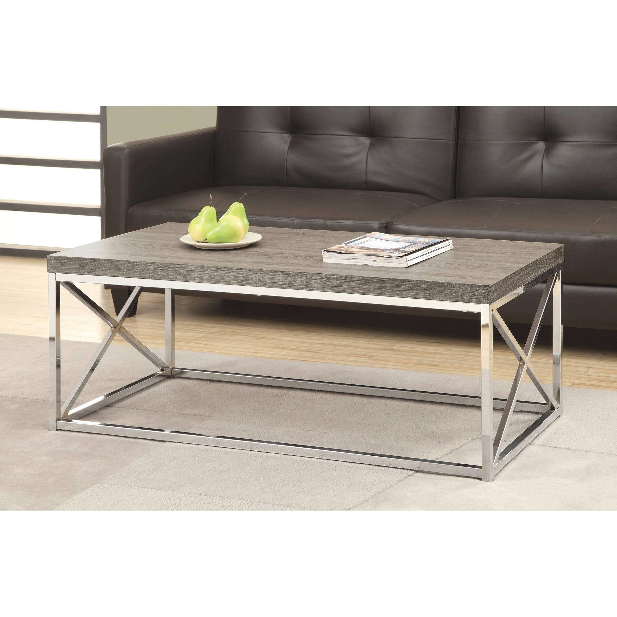 Popular Chrome Leg Coffee Tables Throughout Wood Coffee Table With Metal Legs Tags : Wonderful Black Metal (View 13 of 20)