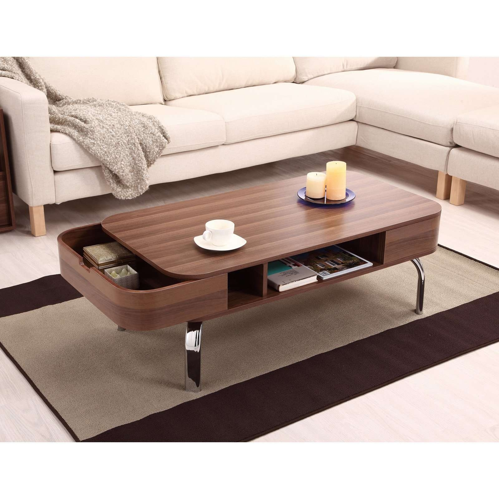 Popular Coffee Tables With Rounded Corners Within Furniture Of America Lawson Modern Walnut 2 Drawer Coffee Table (View 10 of 20)