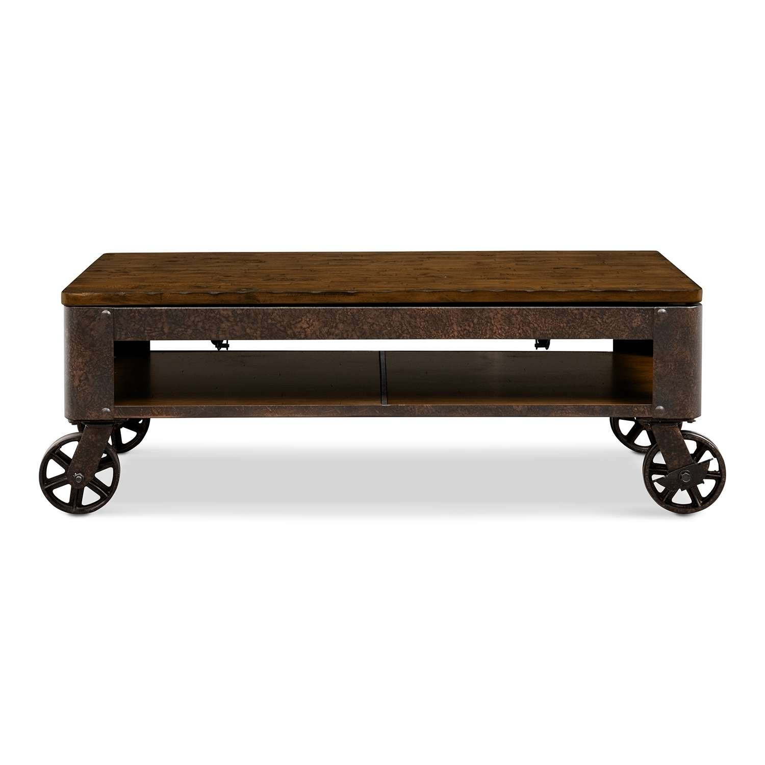 Popular Coffee Tables With Wheels Within Coffee Tables Ideas: Rural Traditional Coffee Table With Wheels (View 17 of 20)